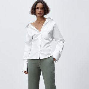 Zara white fitted poplin collar button down NWT